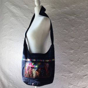 Blue & Multi Colored Guatemalan Fabric Slouchy Bag
